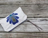 natural waxed canvas peacock lotus flower zippered pouch