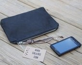 waxed canvas zippered pouch cosmetic case utility bag