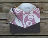 cherry blossom waxed canvas foldover clutch mothers day spring