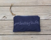 something blue bridal clutch navy waxed canvas rustic wedding
