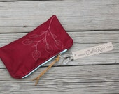 pomegranate waxed canvas zippered clutch