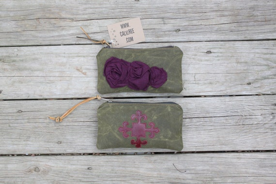 waxed canvas zippered purse/pouch merlot ruffle roses leather tie