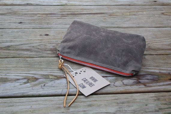 waxed canvas zippered pouch cosmetic case utility bag vintage zippered striped cotton