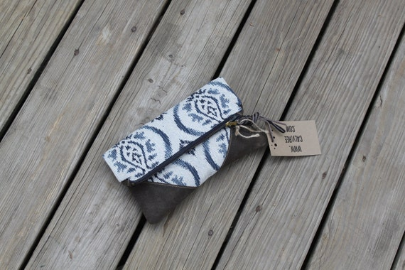 RESERVED for DENISE ikat waxed canvas foldover clutch utility bag zippered purse