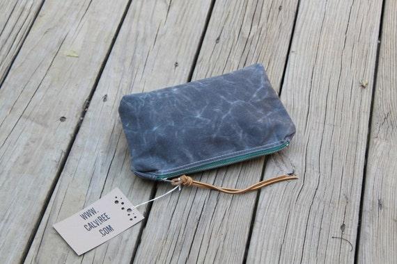 grey waxed canvas zippered pouch utility bag rustic wedding