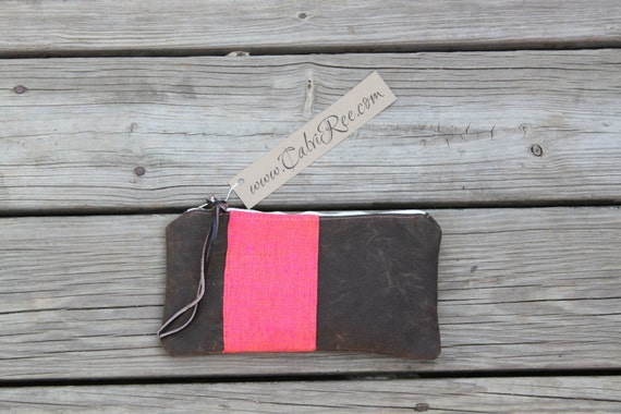 waxed canvas  neon vintage silk pink stripe zippered purse