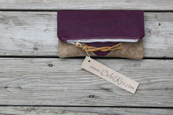 merlot waxed canvas foldover clutch leather fringe tie rustic wedding