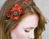 Indian Summer silk flower headband with feathers