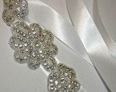 Rhinestone Sash or Headband, Wedding Belts, Sashes, Ribbons, Ties - Bridal Accessories