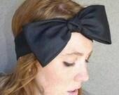 Adult Headband BIG Black Bow Boho Head Wrap Women Hair Accessory