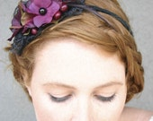 Sexy Black Lace and Plum Fower Headband for Woman and Girls Holiday Hair Acessories