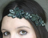 Beaded tie headband in deep green, headband for women and teens