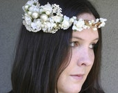 On sale, vintage lace woodland wedding wreath, wedding hair acessoies