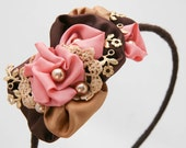coral and brown fanticy rolled rose headband