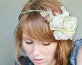 wedding headbands, woodland bridal wreath or crown in pale green
