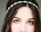 Rhinestone flower chain headband with ribbon ties, headbands for weddings