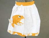 Gold and white vintage fish apron