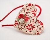 SALE-Vintage heart Valentine headband