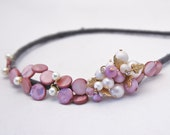 beaded headband for women, with vintage accents in lavender