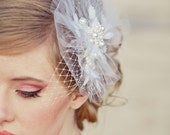 Net and pearl wedding hair comb. wedding veil, bridal headpiece