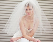 Wedding Veil, Two Tier Full Veil with Scattered Pearls, Wedding Hair, Short Wedding Veil, Full Veil with Beads, Bridal Veil