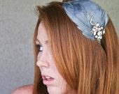 Vintage blue feather headband, with vintage jewels