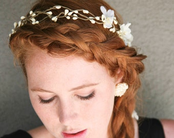 Floral Hair Wreath Woodland Wedding Rustic Bridal Wreath with Flowers and Ribbon Ties Wedding Headpiece Rustic Wedding Headband Flower Crown