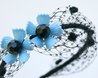 Black Net Headband with Vintage Blue Flowers, Floral Headband, Bohemian Hair Accessory