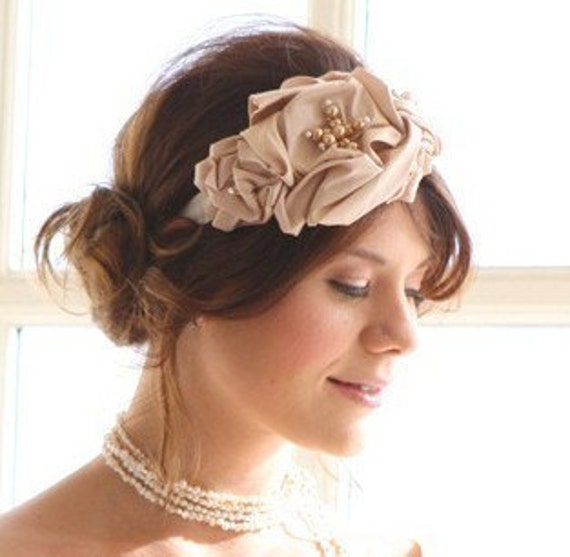 Large Rose Headband in Blush Pink Headbands for Weddings Bridal Hair Accessory