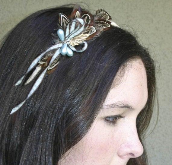 Adult headband, feathers and bows headband