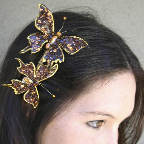 Wings to Fly Beaded Butterfly Hair Comb, Hair Accessory