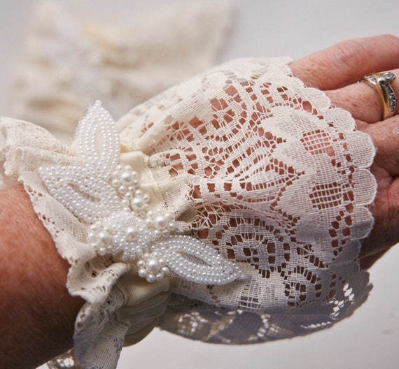 reserved for Maxine-Lace wedding gloves or cuffs from vintage lace