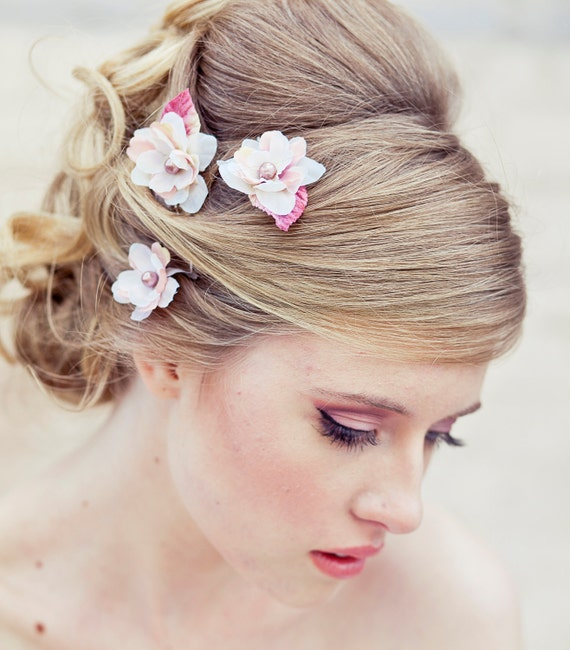 Wedding Hair Accessory Set of Three Flower Bobby Pins in ivory and Pink Perfect for Brides or Bridesmaids