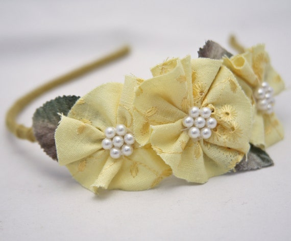 yellow eyelet flower headbands for women and teens