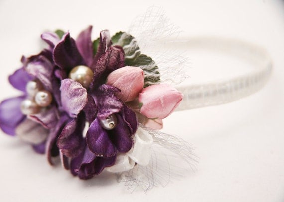 Vintage flower headbands for women in purple and pink