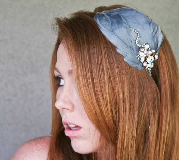 Vintage blue feather headband, with vintage jewels