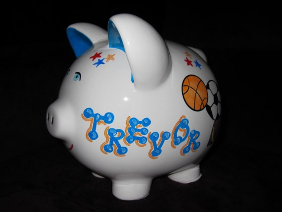 Items similar to sports ceramic piggy bank boy 39 s on etsy - Ceramic piggy banks for boys ...