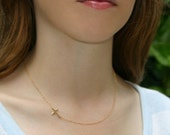 Sideways Cross Necklace , Set Center - 14kt GOLD FILLED Small Horizontal Cross