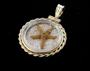 Sea Treasure Locket - Sand from Bermuda Gold Filled Round Locket in size medium