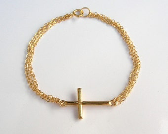 18kt Gold Sideways Cross Bracelet on Three 14kt Gold Filled Chains
