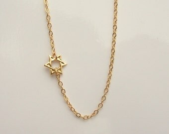 Tiny 14kt Gold Filled Star of David Necklace Set Off Center Gold or Silver