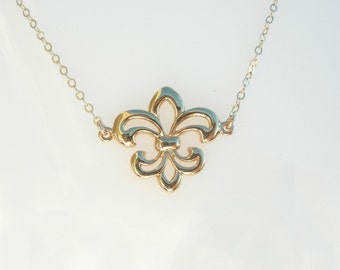 Fleur De Lis Necklace in 18kt Gold on a 14kt Gold Filled Chain