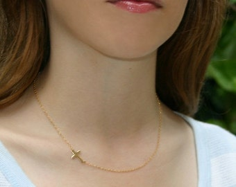 Sideways Cross Necklace , Handcrafted - 14kt GOLD FILLED Small Horizontal Cross