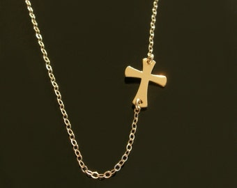 Sideways Cross Necklace Set Off- Center - 14kt Gold Filled