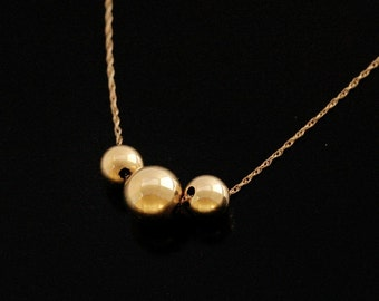 Triad Gold Ball Necklace in 14kt Gold Filled or Sterling Silver