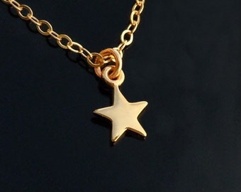 Tiny Star Necklace in 18kt gold on a 14kt Gold Filled Chain