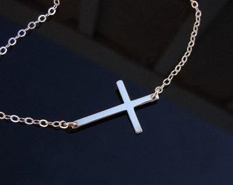 Kelly Ripa  Sideways Cross Necklace in Sterling Silver