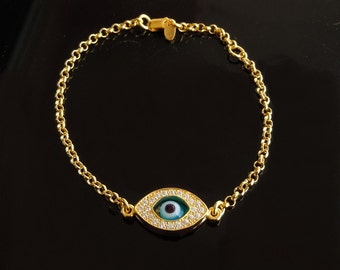 Kelly Ripa Evil Eye ANKLET in Gold