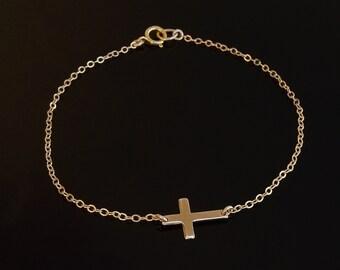 Small Sideways Cross Bracelet 14kt Gold Filled
