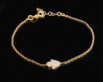 Mini Sideways Hamsa Hand Bracelet - 18kt Gold or Sterling Silver or Rose Gold
